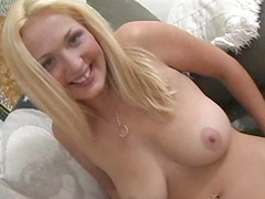 Nasty blonde Katie Devy is playing with a dildo