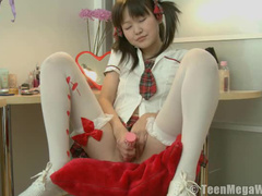 Little Asian schoolgirl toy sex