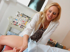 Horny blonde Julia Ann is making a sloppy blowjob
