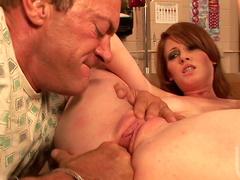 Slutty nurse Nikki Rhodes fucks with her client