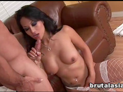 Busty angel with dark hairs is sucking a dick