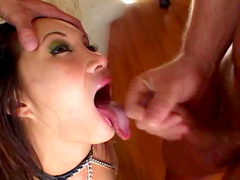 Asian with chubby lips is getting load of cum in her mouth