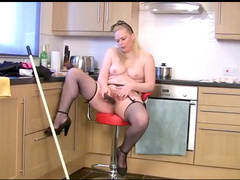 Masturbating French maid milf