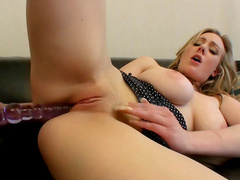 Sensual blonde Sapphire Blue is playing with her pussy