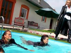 Gina Killmer and Tatiana Milovani are playing in the pool