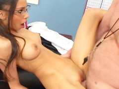 Alluring skinny beauty Alexis Love is riding on the dick of her teacher