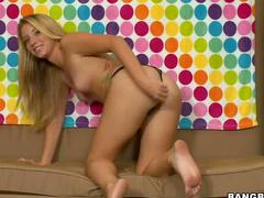 Long striptease and handjob