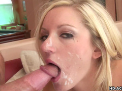 Blonde Kylie Reese swallows hot load of tasty jizz