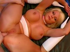 Blonde Jasmin Jordan gets covered with sperm