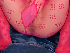 Asian in patterned pink pantyhose is hot