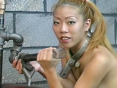 Asian is getting fucked in her wide opened mouth