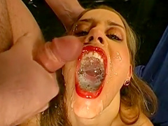 Pretty German chick is getting sperm in mouth