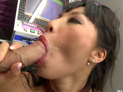Superstar Asa Akira is riding on the long dick