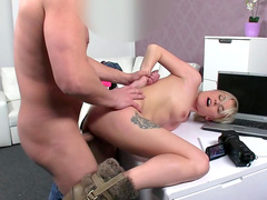 Short-haired blonde Petra gets cum on her face