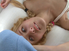 Beauty blonde Sasha is sucking a big hard pole