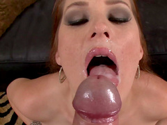 Allison Moore gives a deep sloppy blowjob