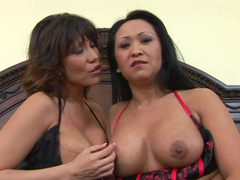 Asian milf threesome with pornstars
