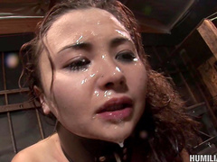 Slender brunette Kita Zen is getting cum in her face