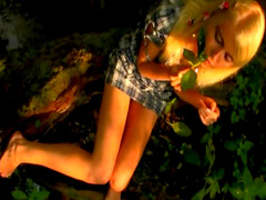 Hot blonde masturbates in woods