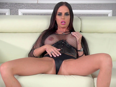 Slender brunette Brandy Aniston shows her boobs