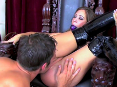 Spicy brunette with gag was fucked in doggy style
