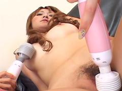 Karin Fujita and Moe Yazawa are playing with vibrator