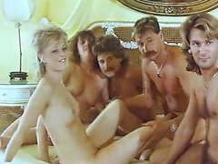 Retro bedroom orgy with super hot brunette, redhead and blonde milfs