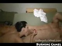 Sexy college brunette gets rocked