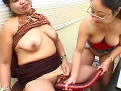 Curvy Asians in the office make porn