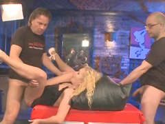 Curly Ann swallows with unreal pleasure