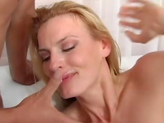 Pretty blonde Darryl Hanah is satisfying her asian bastard