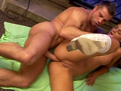Anal penetration for a hot brunette with shaved pussy