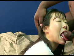 Sexy Japanese babe is sucking that horny black dick
