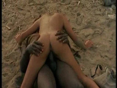 Interracial hardcore on the beach