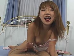 Satin slip on Asian giving handjob