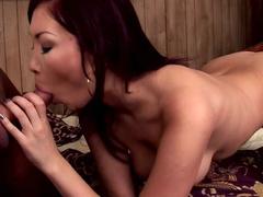 Aisha Sun sucks hot dick in the sauna