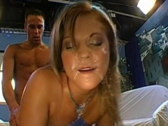 Young blonde swallows truly big cum loads