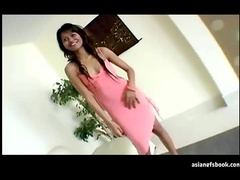 Asian in heels stands and gets laid