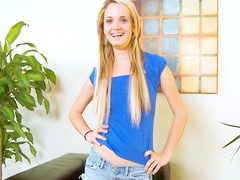 Skinny blonde Sara James is playing with a dildo