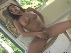 Stunning Asian Jasmine Byrne fingers her puss