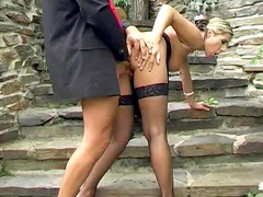 Sexy blonde Hanna fucks in her anal outdoors