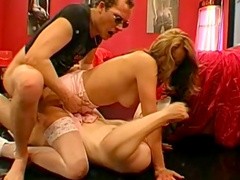 Blonde is swallowing two big cum shots