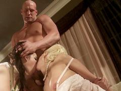 Hardcore ladies are banging with bald fucker