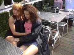 Fondling gals in public
