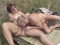 Old woman fucks like nuts in this outdoor video