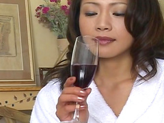 Sensual Asian beauty is drinking vine and fucking