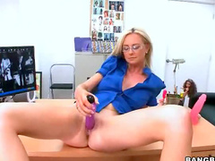Blonde toys her box