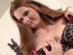 Leggy brunette Allison Moore stretches her vag