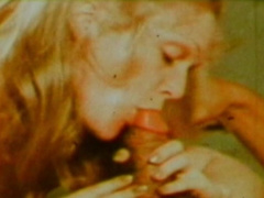 Alluring blonde is giving a professional blowjob