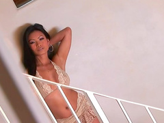 Asian licks creampie off the glass table